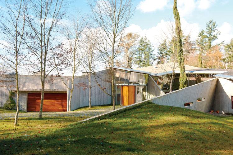 Modern geometric house facade