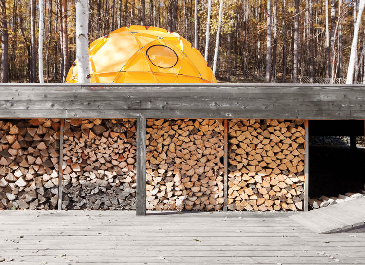 A stockpile of wood and yellow North Face tent