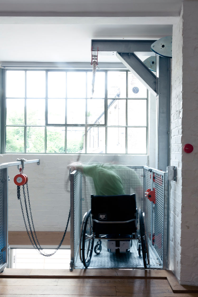 Steel wheelchair pulley in London renovation