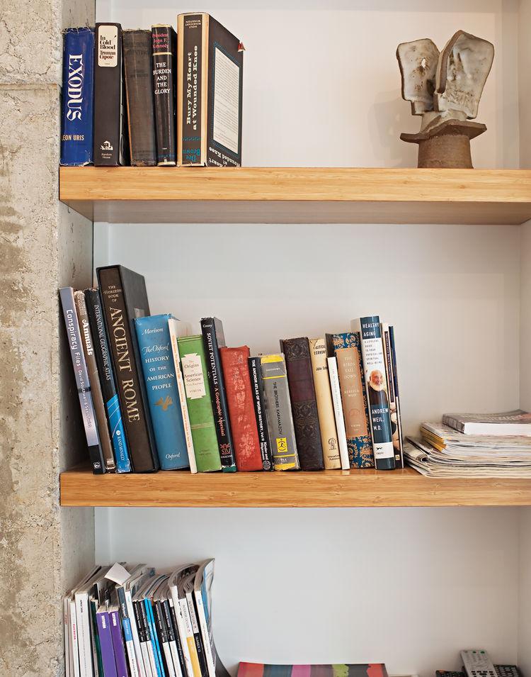 MDF bookshelf clad in bamboo veneer