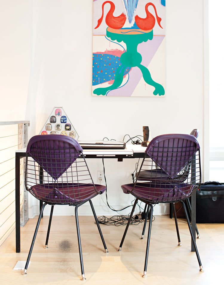 Mid-century game desk table with purple padded wire chairs