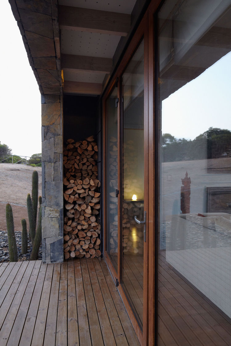 Outdoor fire wood storage area