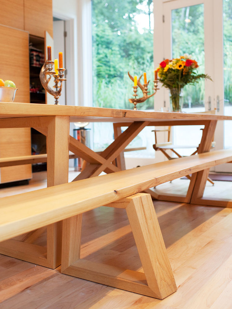 Wooden dining table and bench joinery