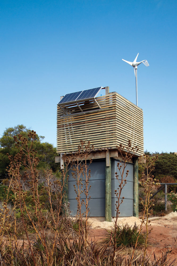 Modern sustainable house with wind-powered well
