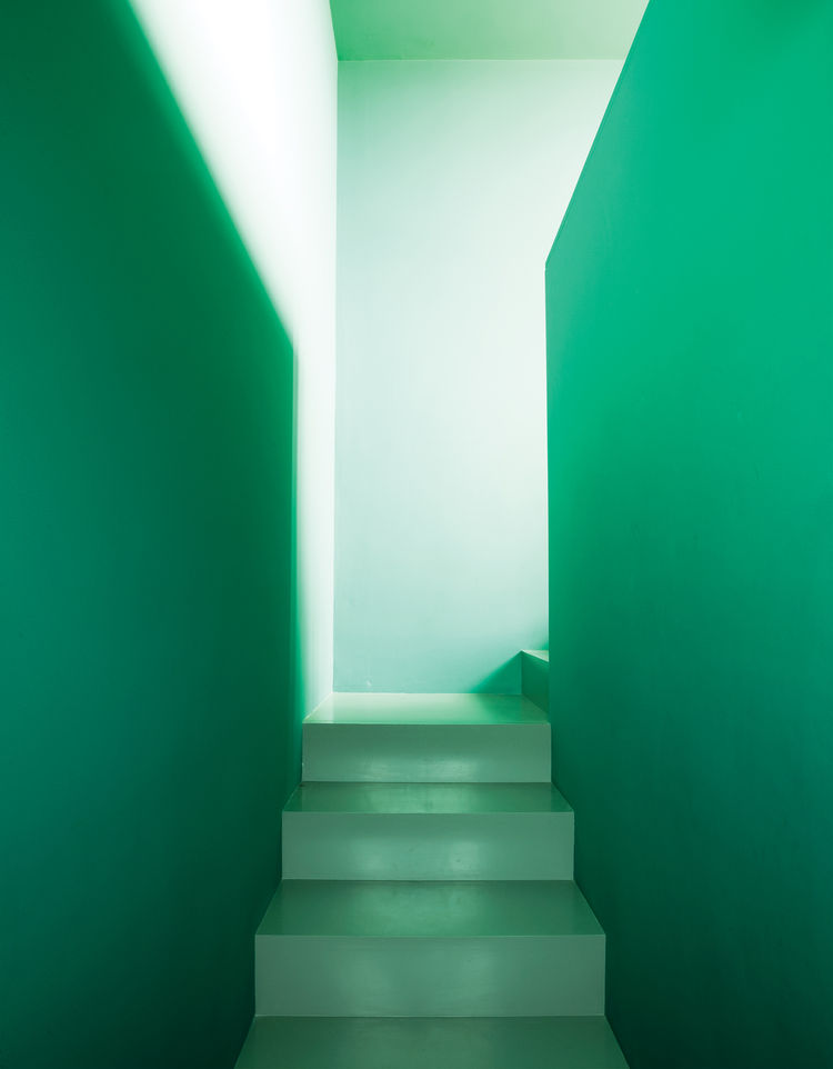 Green narrow staircase