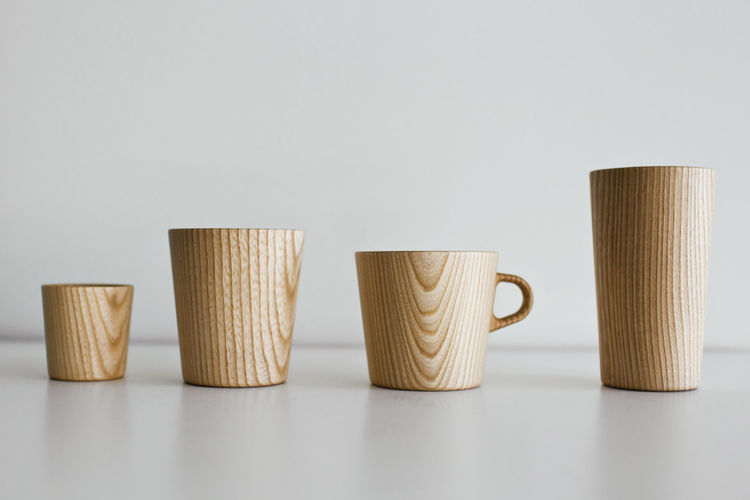 Wooden Kami cups and mugs from Oji Masanori