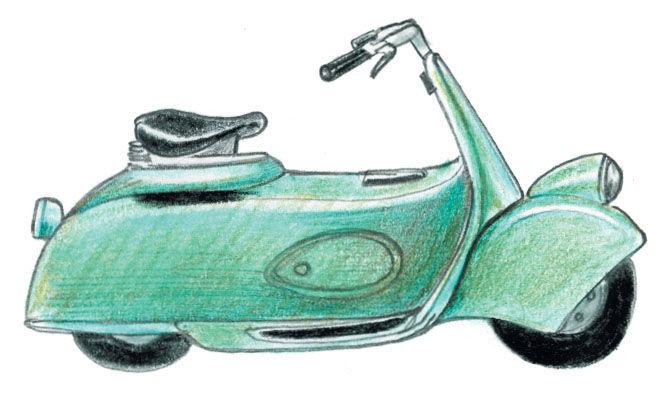 Molto Piaggio Scooter 1943 illustration