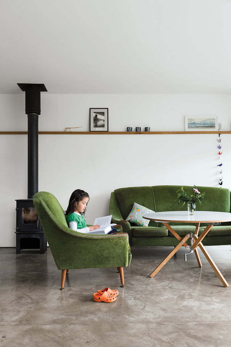 Living room with late-1950s green furniture
