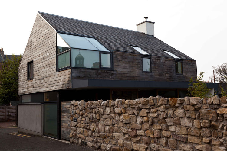 Modern home facade in Scotland with Japanese and Scottish influence