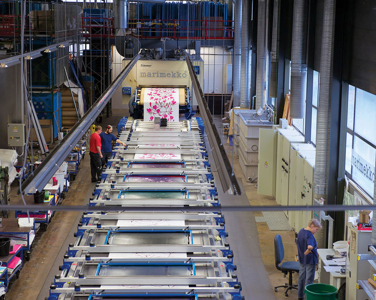 Assembly line at the Marimekko factory in Helsinki, Finland