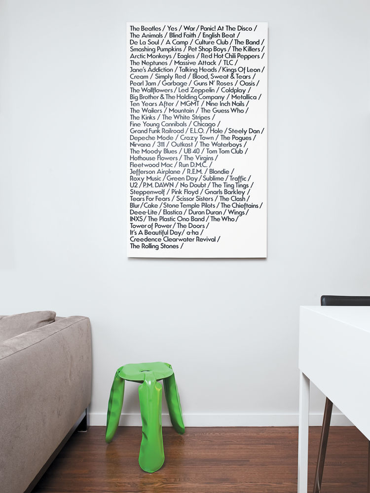 Green stool and List Art wall canvas poster
