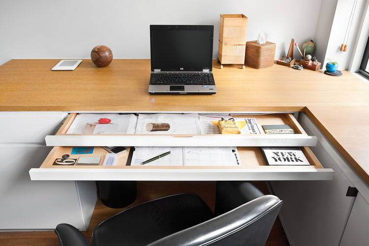 Office desk with multiple sliding trays