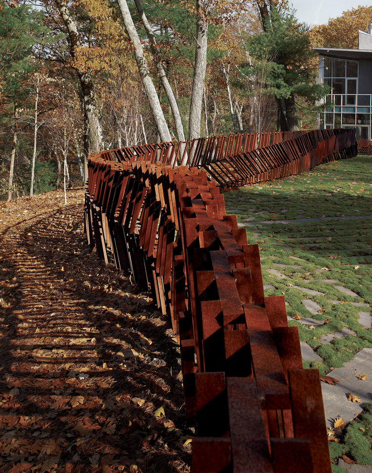 Cor-Ten steel fence near Farrar Pond, Massachusetts