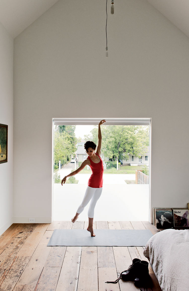 Yoga room with custom Shade House Development window