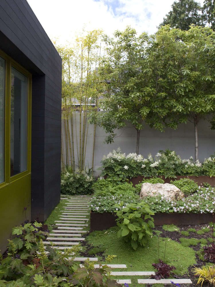 Outdoor garden with narrow concrete pavers
