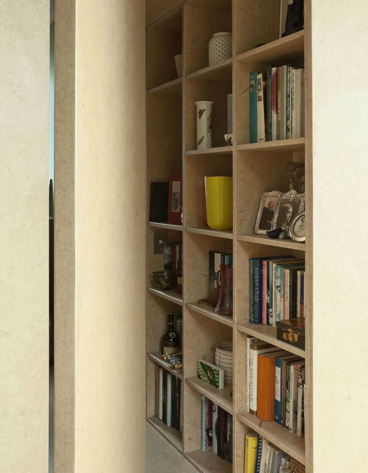 Medium density fiberboard bookshelves