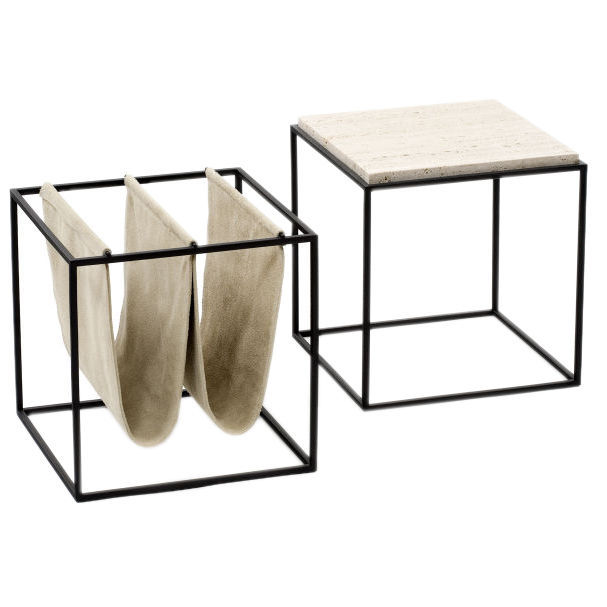 "Polish architect and designer Jorge Zalszupin emigrated to Brazil in the 1940s, where he conceived of his Domino magazine holder. Constructed of iron and leather, it is still produced by Etel. For more information, contact <a href=""http://www.espasso.com/"