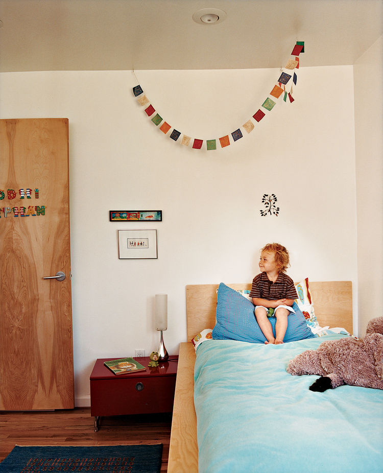 For his son's Boulder, Colorado, bedroom, architect Rob Pyatt chose low- to no-formaldehyde plywood, non-toxic adhesives, and zero-VOC paint, and staunchly avoided materials that are known to off-gas or contain toxic compounds, including carpeting on whic