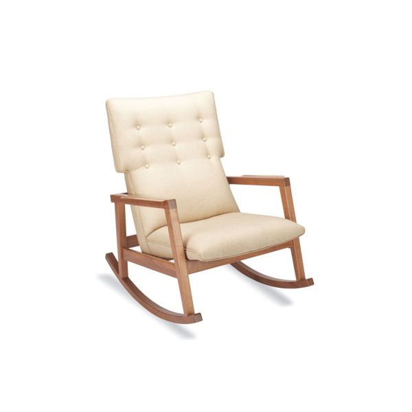 "The Risom Rocker (2009) has a nine-button tufted back; a nod toward the classic Danish modern aesthetic that can be found in all of Risom's work. Made in U.S.A. <a href=""http://www.dwr.com/product/furniture/living/jens+risom+collection/risom-rocker.do"">Co"