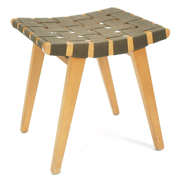 "The Risom Stool, <a href=""http://www.dwr.com/product/furniture/living/jens+risom+collection/risom-stool-walnut.do"">$348</a>"