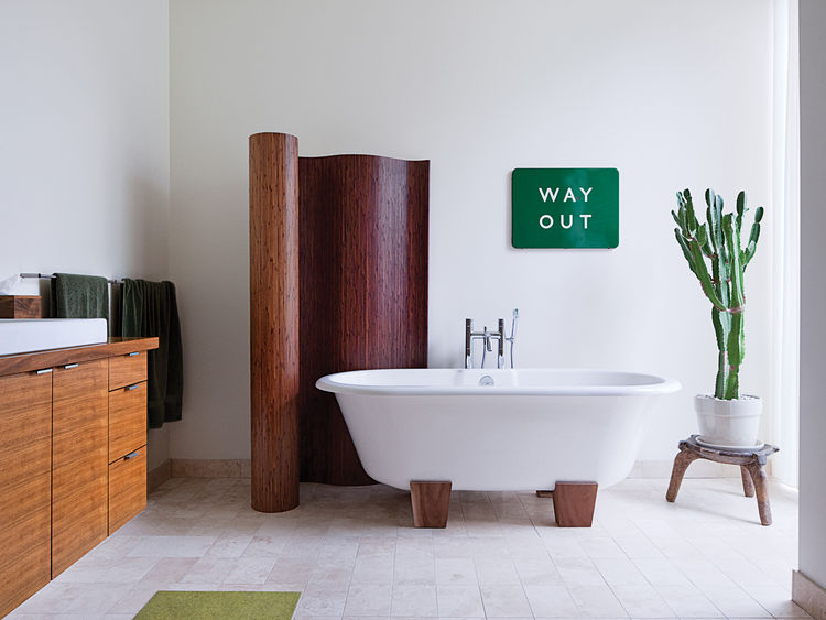 typographic art accents in bathroom