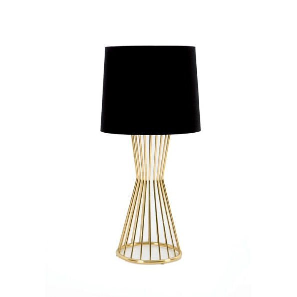 Modern table lamp with black lamp shade.