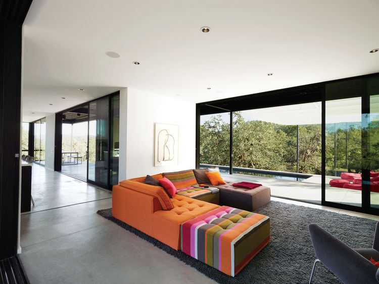 Modern prefab living room with colorful sofa