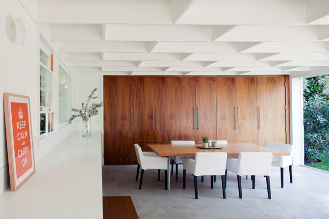Modern dining room with walnut veneer floors