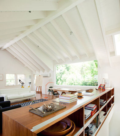 Modern second floor space with open shelving
