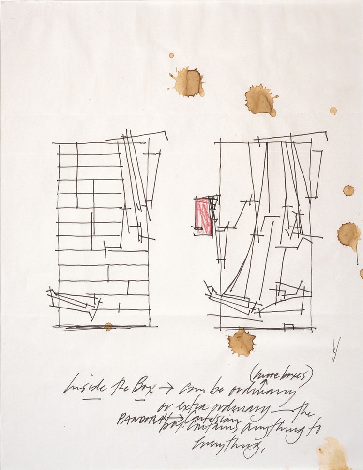 Sketch for the series Nine Reconstructed Boxes by Lebbeus Woods