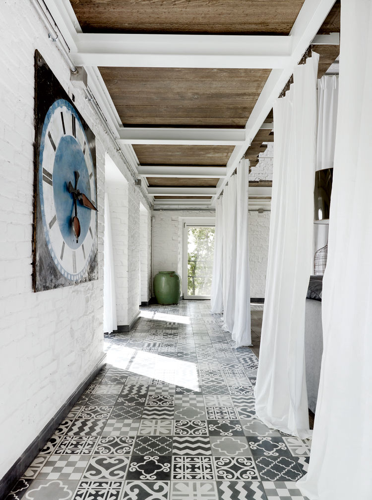 Modern custom-tiled floor.