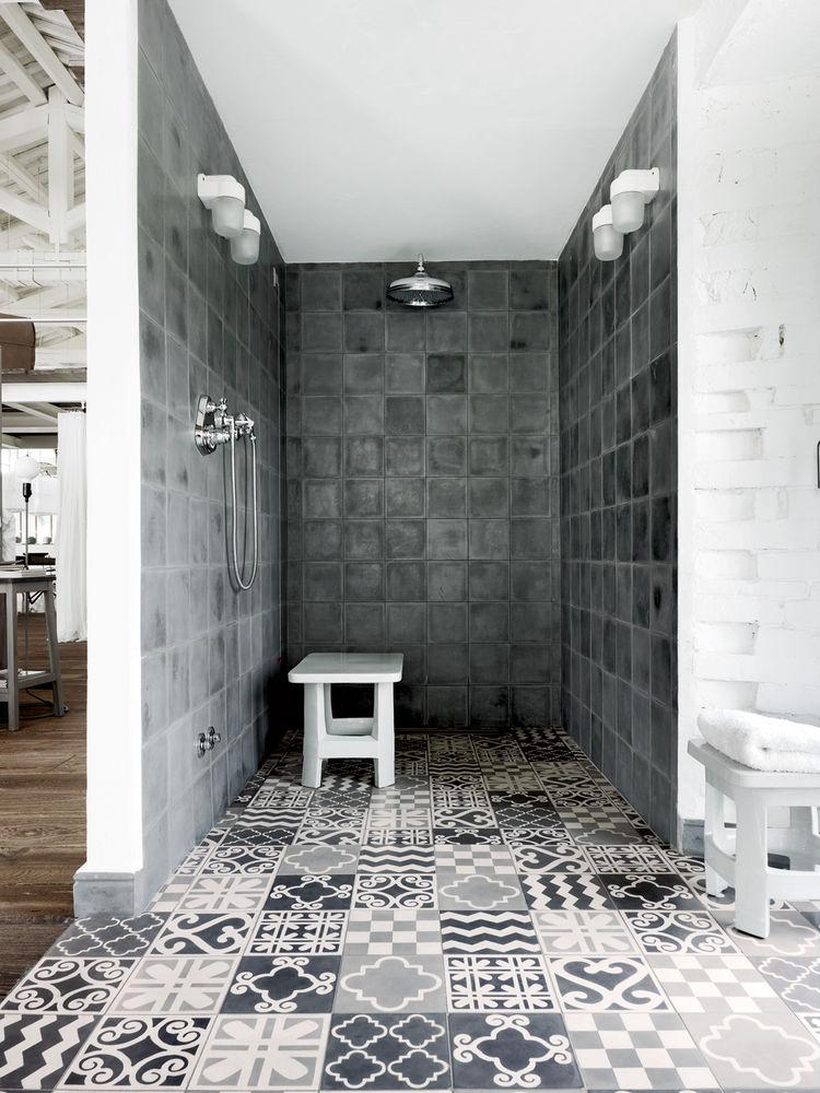 Custom Carocim tiles in shower.