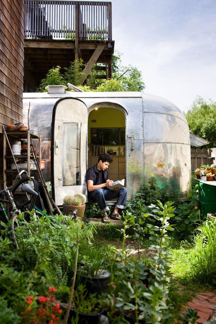 The Airstream is tucked into the back garden of a Berkeley co-op.  Having a garden at my footsteps and chickens just over the fence make it feel peaceful and private.