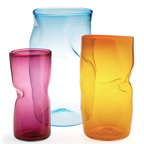 Slumped glass vases