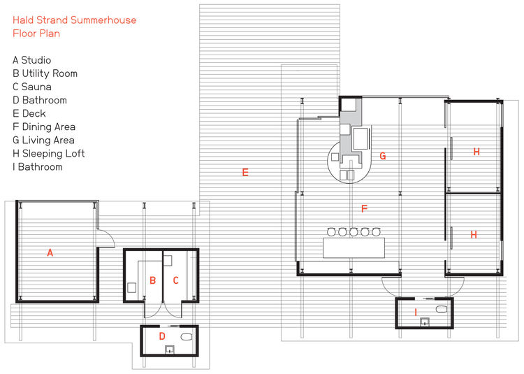 Hald Strand Summerhouse floor plan.