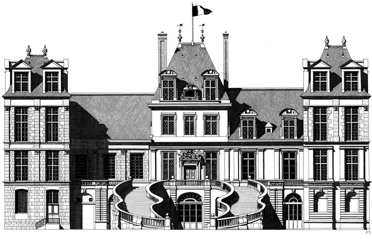 Fontainebleau castle illustration by Thibaud Herem