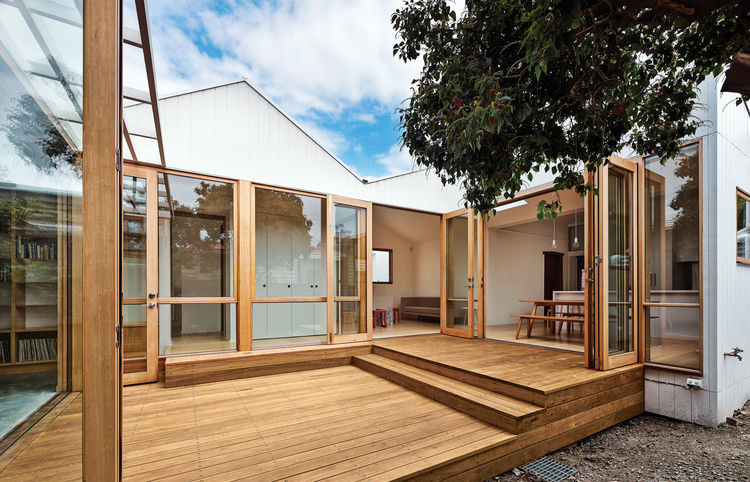 Interior courtyard made of blackbutt wood.