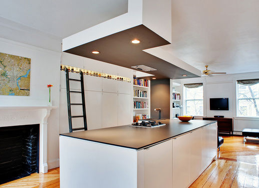 kitchen renovation to living with fireplaces