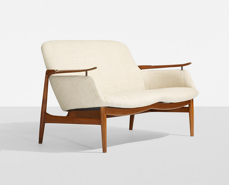 Rare Finn Juhl upholstered settee designed in 1953, on sale in Wright's Scandinavian design auction.