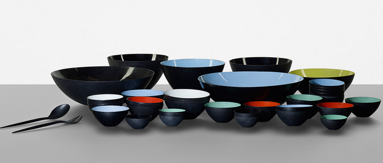 Set of 43 Krenit bowls on sale as part of Scandinavian antique auction at Wright on May 16, 2013.