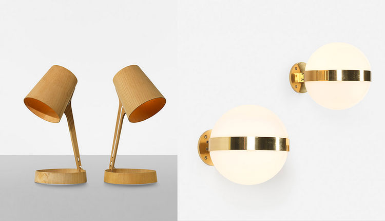 Pair of wooden table lamps from Sweden and pair of glass and brass Louis Poulsen sconces from Denmark, on sale in Wright Scandinavian Design auction.