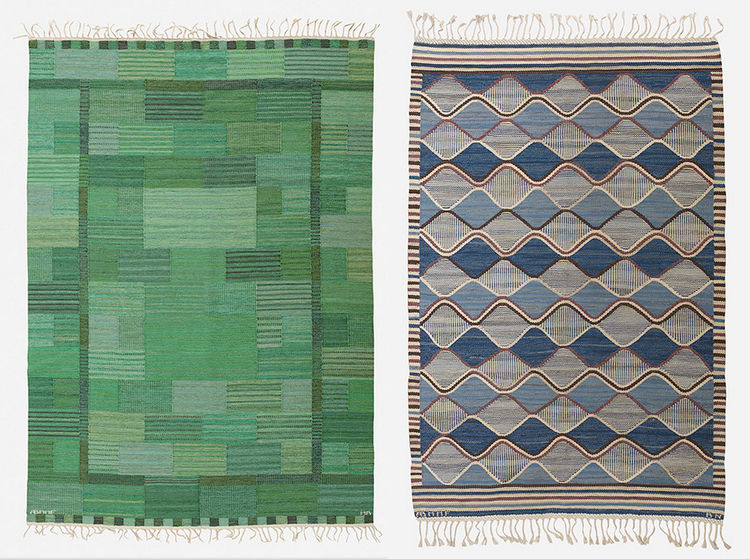 Two antique modern Swedish flatweave rugs by Barbeo Nilsson and Marianne Richter in the Wright Scandinavian auction on May 16, 2013.