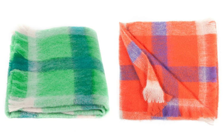 Mohair throw blanket by Gorman in cheery plaid, made in Australia