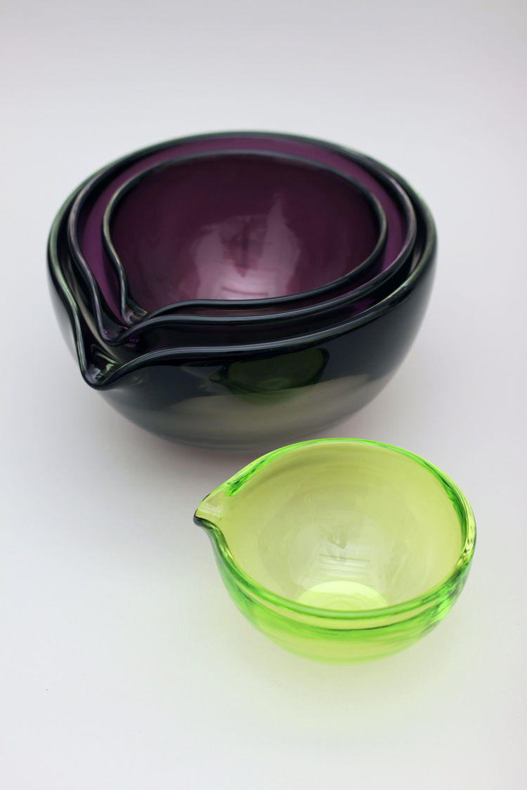 Handblown glass mixing bowls by Andrew O. Hughes