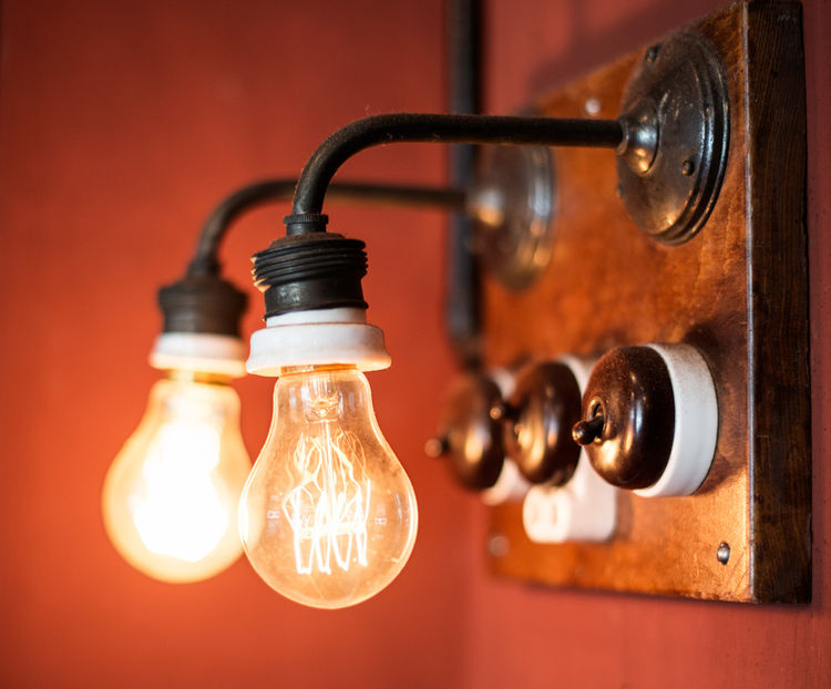 Filament lightbulb wall fixtures at Hotel Central & Cafe in Copenhagen