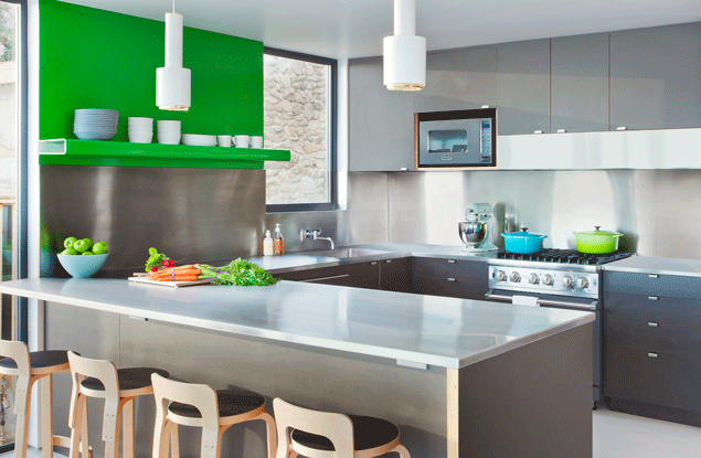 Modern kitchen with kelly green powder coated aluminum shelf