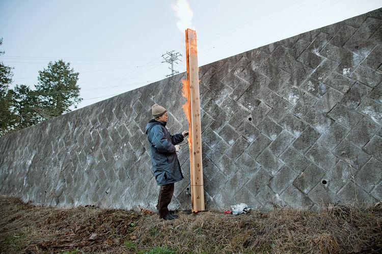 Demonstration charred cedar siding