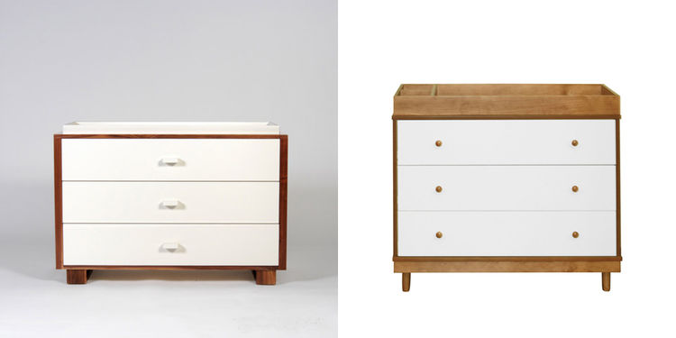 Two modern changing table-dresser furniture, one from Ducduc and the other from Babyletto