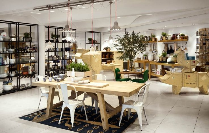 The dining room arrangement in The Conran Shop's reopened Marylebone store, with Tolix chairs.