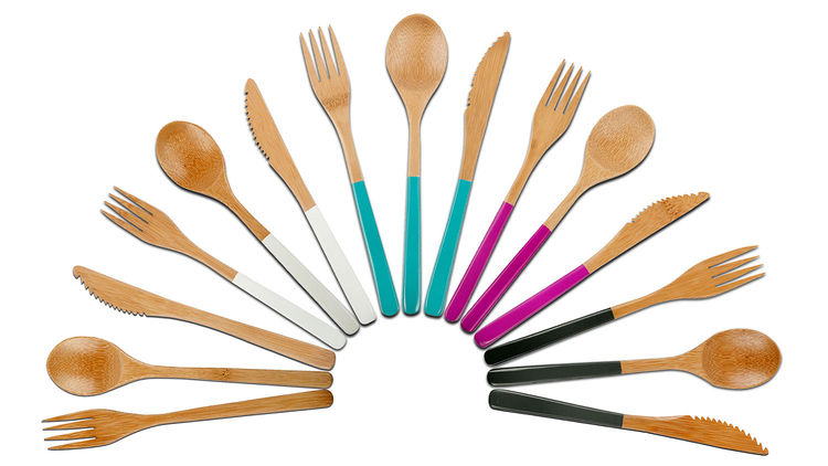 Wooden reusable cutlery.